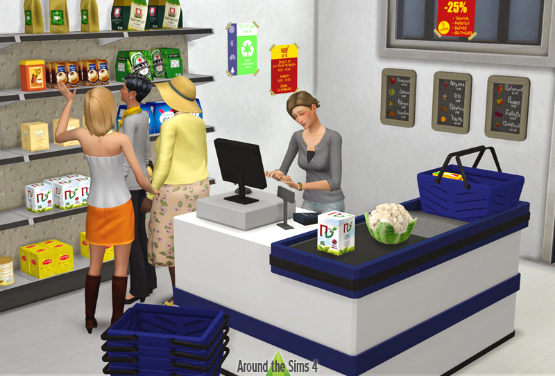 Around the sims 4 custom content download grocery for Decors muraux exterieurs