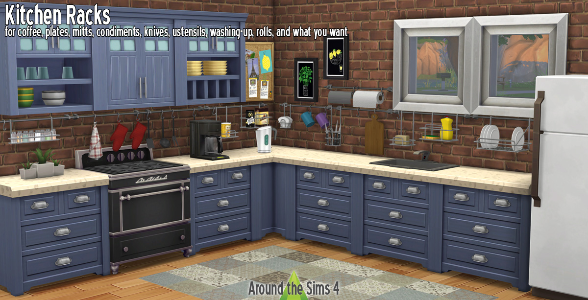 Around the Sims 4 | Custom Content Download | Kitchen Racks
