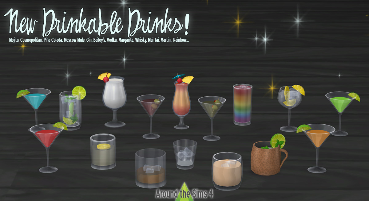 Around the Sims 4 | Custom Content Download | Drinkable alcohols