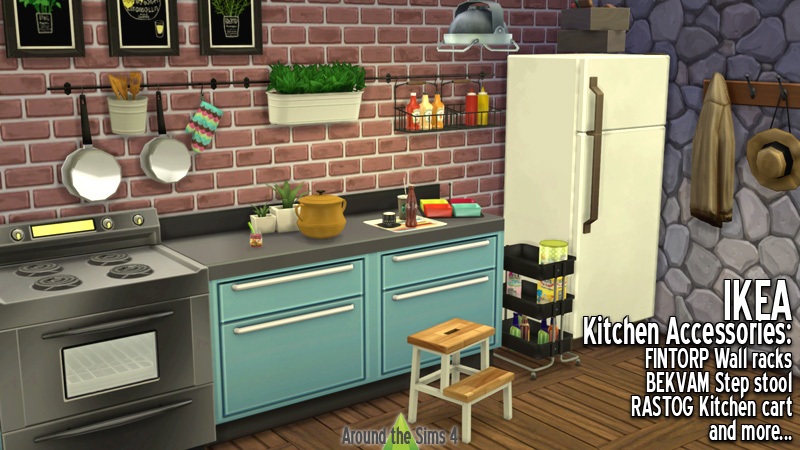 around the sims 4 custom content download objects ikea kitchen accessories. Black Bedroom Furniture Sets. Home Design Ideas