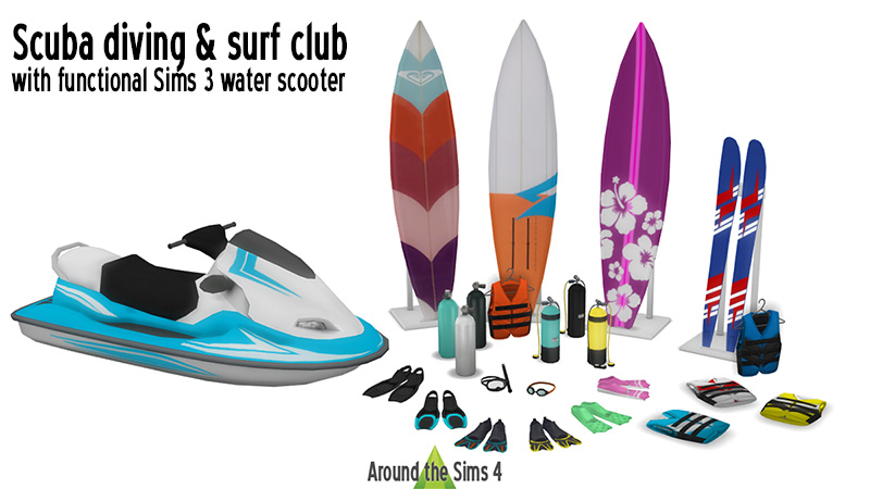 Around the Sims 4 | Custom Content Download | Scuba diving & surf club